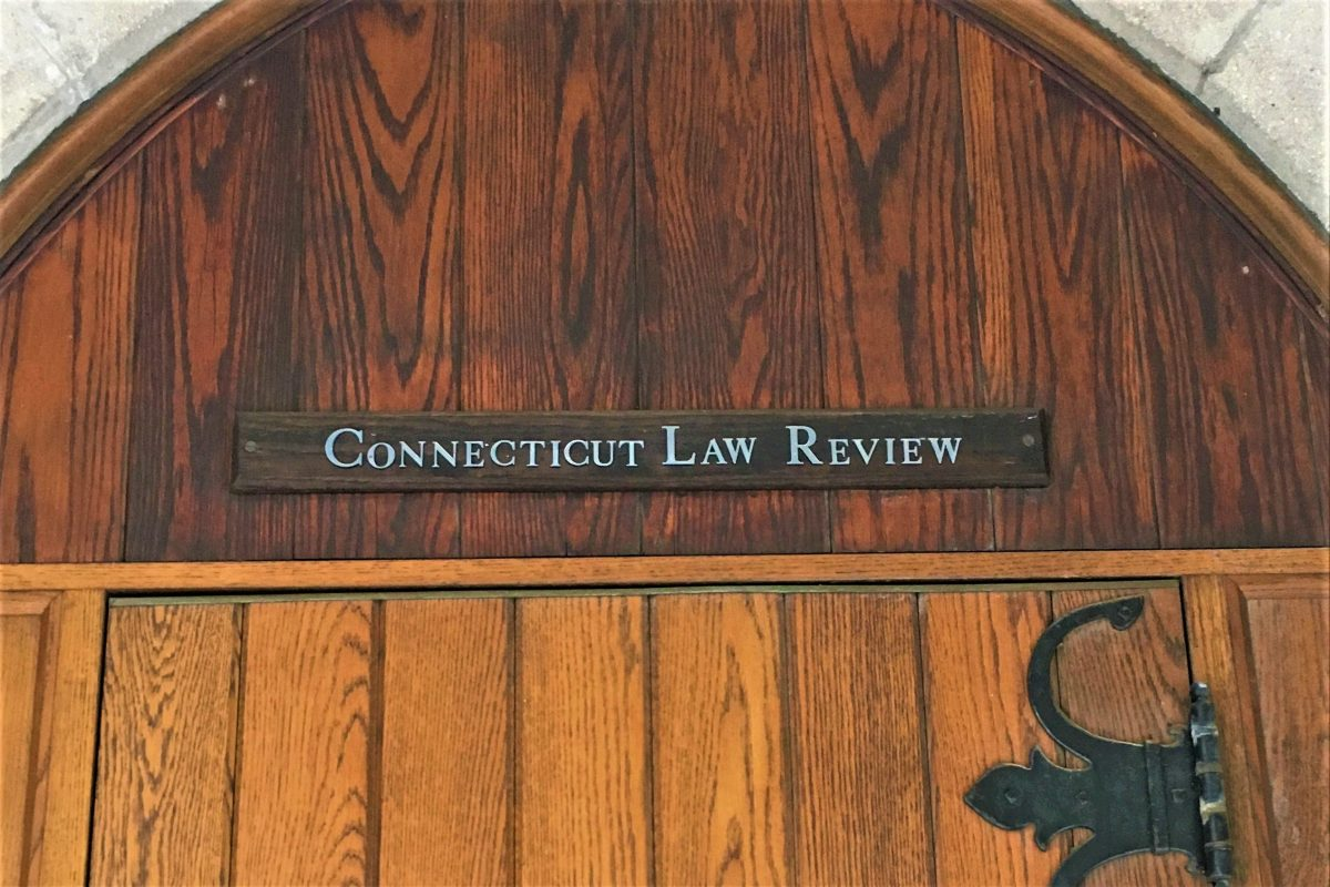 Picture of Connecticut Law Review Door outside of Starr building